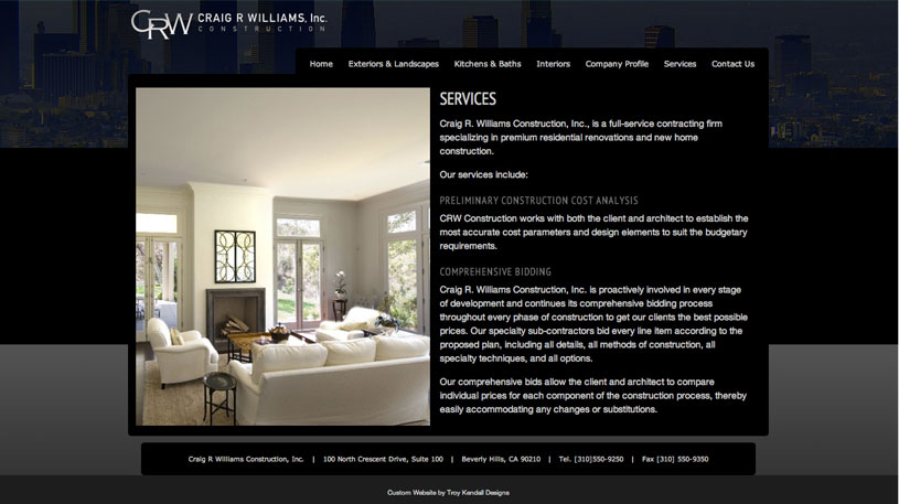 Craig R. Williams Construction Website